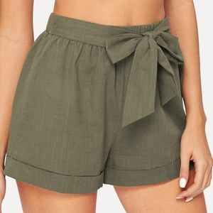 SHEIN Self Belted Elastic Waist Shorts